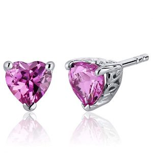 PEORA Created Pink Sapphire Heart Shape Stud Earrings Sterling Silver 2.00 Carats