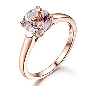 Round Cut Pink Morganite Engagement Ring,Solid 14K Rose Gold,Wedding Promise Ring,Ball Prong,Reco Ring