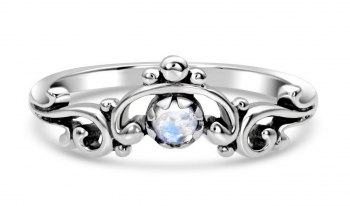 Moonstone Ring - Spiraled Full Moon