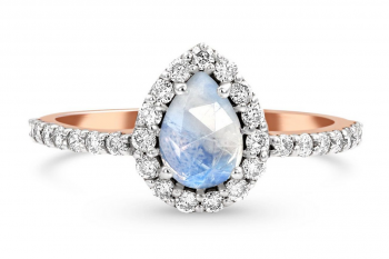 Solid 14kt Rose Gold Moonstone Ring with Diamonds - Tear of Joy