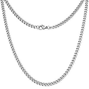 Silvadore 4mm Curb Mens Necklace – Silver Chain Cuban Stainless Steel Jewellery – Neck Link Chains for Men Man Women Boys Maile Military -