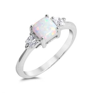 Solitaire 3 Stone Wedding Ring Lab Created White Opal Princess Cut Square and CZ 925 Sterling Silver