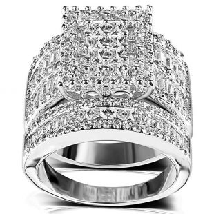Square Cubic Zirconia Bridal Set - Princess Cut CZ Jewelry Engagement Wedding Band Rings Set for Women