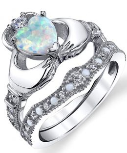 Sterling Silver 925 Heart Shape Claddagh Engagement Ring Wedding Bridal Sets with White Simulated Opal and Cubic Zirconia