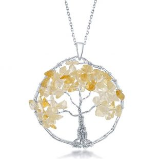"""Sterling Silver Amethyst /Peridot/ Citrine Natural Gemstone Beads Tree of Life 30"""" Pendant Necklace"""