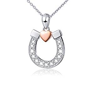 Sterling Silver Lucky Horseshoe with Rose Gold Love Heart Star Pendant Neckalce, Rola Chain 18""