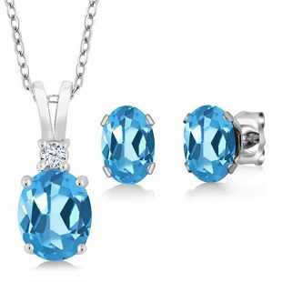 Sterling Silver Swiss Blue Topaz Pendant Earrings Set (3.15 cttw, With 18 Inch Silver Chain)
