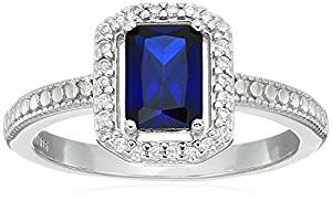 Sterling silver emerald cut created gemstone and cubic zirconia Halo ring