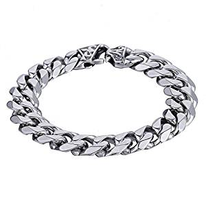 Trendsmax Mens Boys Chain Cut Cuban Curb Polished Link 316L Stainless Steel Bracelet 7-11 inch