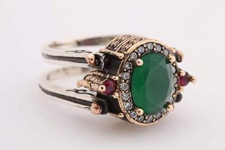 Turkish Handmade Jewelry Reversible Oval Cut Ruby Emerald Jade Topaz 925 Sterling Silver Ladie's Ring All Size