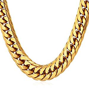 U7 Men Hip Hop Chunky Chain Stainless Steel/ Black Gum/ 18K Gold Plated Jewelry Neckalce, 4 Length, 12mm Wide