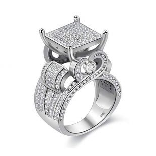 "Uloveido Womens 0.4"" Wide Square Cluster Engagement Love Heart Architecture Ring Platinum Plated, Bridal Fashion Jewelry Stores (Size 6 7 8 9 10 11) RA0221"