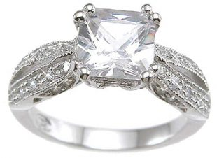 Vintage Style Sterling Silver Engagement Promise Rings for Women