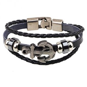 WJkuku Jewelry Fashion Pirate Icon Wristband Cuff Bracelet Stainless Steel Leather Chain Silver Black (Fulfilled by Amazon)