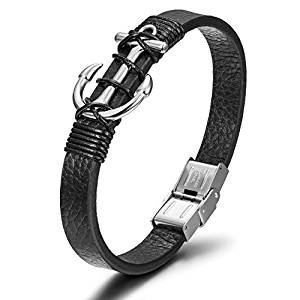 Wistic Mens Leather Bracelet with Stainless Steel Anchor and Fashion Wristband Bangle Cuff for Gift Jewelry 4 Colors