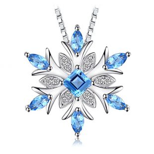 ewelryPalace Snowflake Genuine Swiss Blue Topaz Solid 925 Sterling Silver Pendant Necklace 18 Inches Box Chain