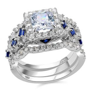 ewshe Engagement Wedding Ring Set 925 Sterling Silver 3pcs 2.5ct Princess White Cz Blue Size 5-10