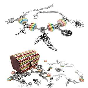justBe Charm Bracelet Making Kit DIY Craft European Bead Silver Plated Snake Chain Jewelry Gift Set for Girls Teens