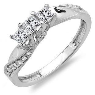 0.50 Carat (ctw) 10K Gold Princess and Round Diamond 3 Stone Swirl Engagement Bridal Ring 1/2 CT