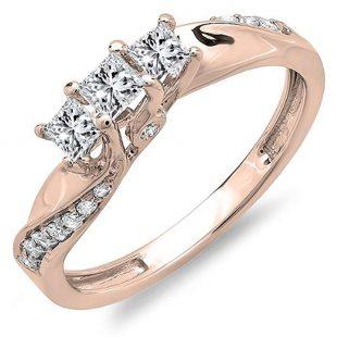 0.50 Carat (ctw) 10K Gold Princess and Round Diamond 3 Stone Swirl Engagement Bridal Ring