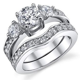 0.75 Carat Round Cubic Zirconia Past, Present, Future Sterling Silver 925 Wedding Engagement Ring Band Set