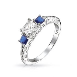1 CTW 3 Stone Promise Engagement Ring Past Present Future Princess Cut Simulated Sapphire CZ 925 Silver