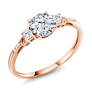 10K Rose Gold Hearts And Arrows White Created Sapphire Ring 1.34 Ct Round