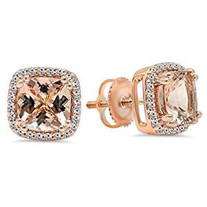 14K Rose Gold Round Morganite & White Diamond Ladies Halo Style Stud Earrings