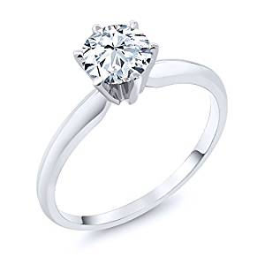 14K White Gold Hearts And Arrows White Created Sapphire Engagement Solitaire Ring