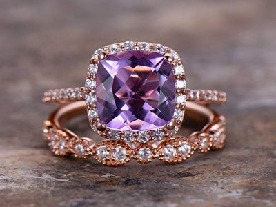 2pcs Amethyst wedding ring set!8mm Cushion Engagement ring,petite rose gold plated,925 sterling silver stacking CZ Bridal ring,matching band,Women Halo ring,Man Made diamond CZ ring,any size