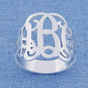 3 Initial Monogram Ring Sterling Silver Personalized Monogrammed Fine Jewelry