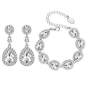 Austrian Crystal Earring and Bracelet Jewelry Set