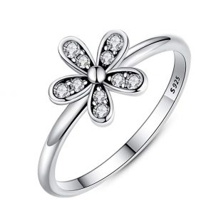 BAMOER Silver S925 Dazzling Elegant Flower Engagement Ring with Clear CZ Fine Jewelry Gift for Women Size 6-9