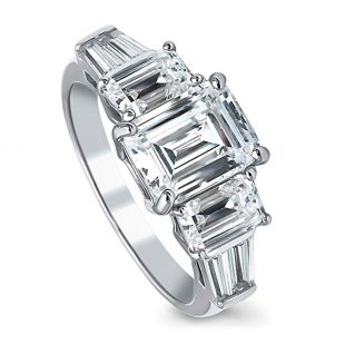BERRICLE Rhodium Plated Silver Emerald Cut Cubic Zirconia CZ 3-Stone Engagement Ring 4.09