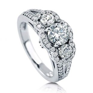 BERRICLE Rhodium Plated Sterling Silver Cubic Zirconia CZ 3-Stone Halo Engagement Split Shank Ring
