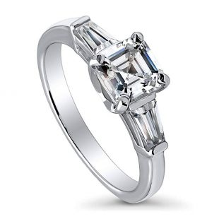 BERRICLE Rhodium Plated Sterling Silver Cubic Zirconia CZ 3-Stone Promise Engagement Ring