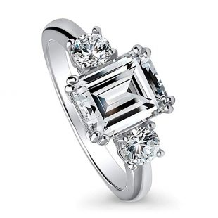 BERRICLE Rhodium Plated Sterling Silver Emerald Cut Cubic Zirconia CZ 3-Stone Engagement Ring