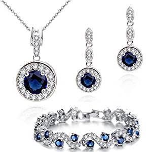 Blue Simulated sapphire zirconia crystals set