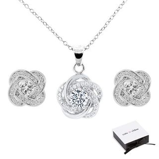 Cate & Chloe Stella Jewelry Set, 18k White Gold Cubic Zirconia Pendant Necklace and Stud Earrings, Bridal Jewelry Set, Cluster Necklace Earring Set for Women, Halo Jewelry Set