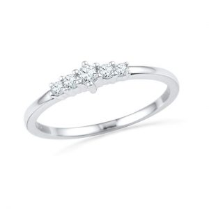 D-GOLD Sterling Silver Round Lab Created White Sapphire Anniversary Ring