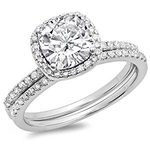 Dazzlingrock Collection 10K Gold Cushion Created White Sapphire & Round White Diamond Bridal Halo Engagement Ring Set