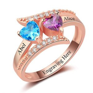 Diamondido Personalized Family Mother Rings with 2 Simulated Birthstone Custom Names Promise Ring for Her