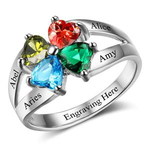 Diamondido Personalized Gift for Mommy Engrave 4 Names 4 Childrens Simulated Birthstone Promise Rings for Women