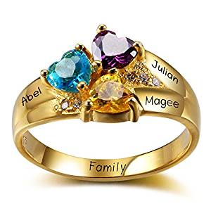 Diamondido Personalized Mothers Family Simulated Birthstone Rings Engraved 3 Childrens Names Promise Rings for Her