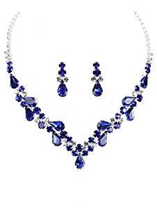 """Elegant Clear & Deep Blue Rhinestone Teardrop Bib Statement Necklace, 14"""", with Post-Back Drop Earrings"""