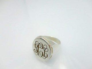 Engraved Initial Monogram Ring, Circle Block Monogram Signet Ring, Personalised Handmade 925k Sterling Silver