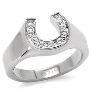 Eternal Sparkles Women's Stainless Steel High-Polished Horseshoe Ring