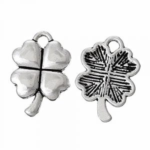 Four Leaf Clover 15mm Antiqued Silver Plated Charms