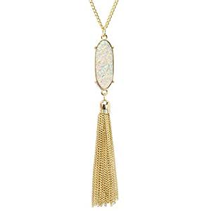 Gold tassel pendant long chain necklace