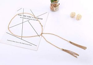 Golden Brown Tassel Necklace with Adjustable Neck Chain